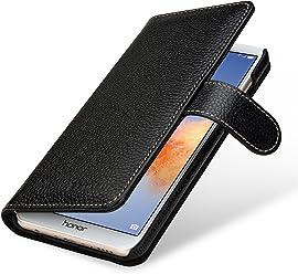 StilGut Talis Case Portafoglio, Custodia in Vera Pelle Cover per Huawei Honor 7X con Chiusura Magnetica, Nero