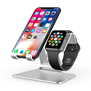 Apple Watch Stand, OMOTON 2 in 1 Universal Desktop Stand Holder for iPhone and Apple Watch Series 5/4/3/2/1 (Both 38mm/40mm/42mm/44mm) (Silver)