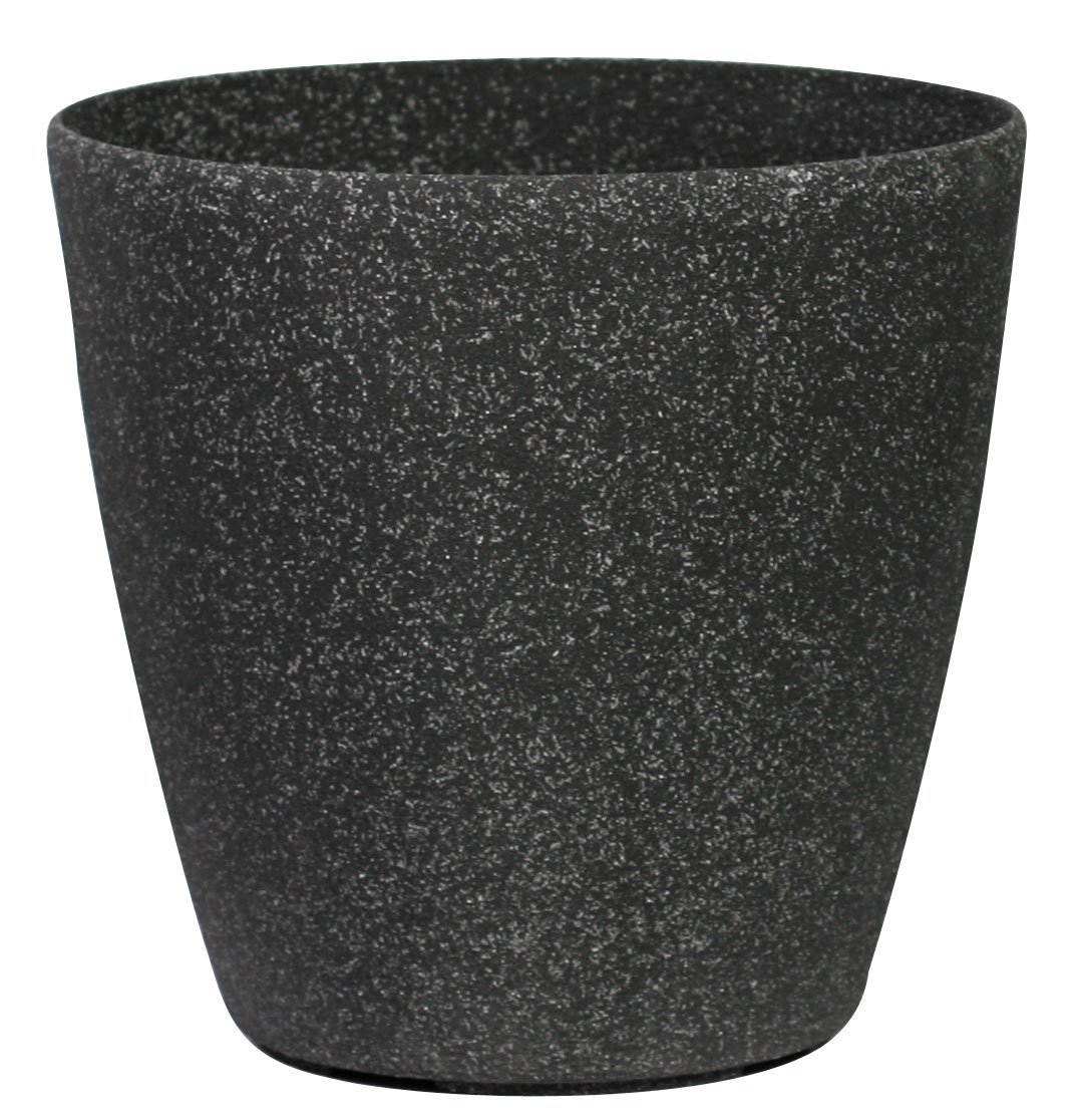 Stone Light SL Series Cast Stone Round Planter, 8.5-Inch, Aged Black Sandstone, 2-Pack
