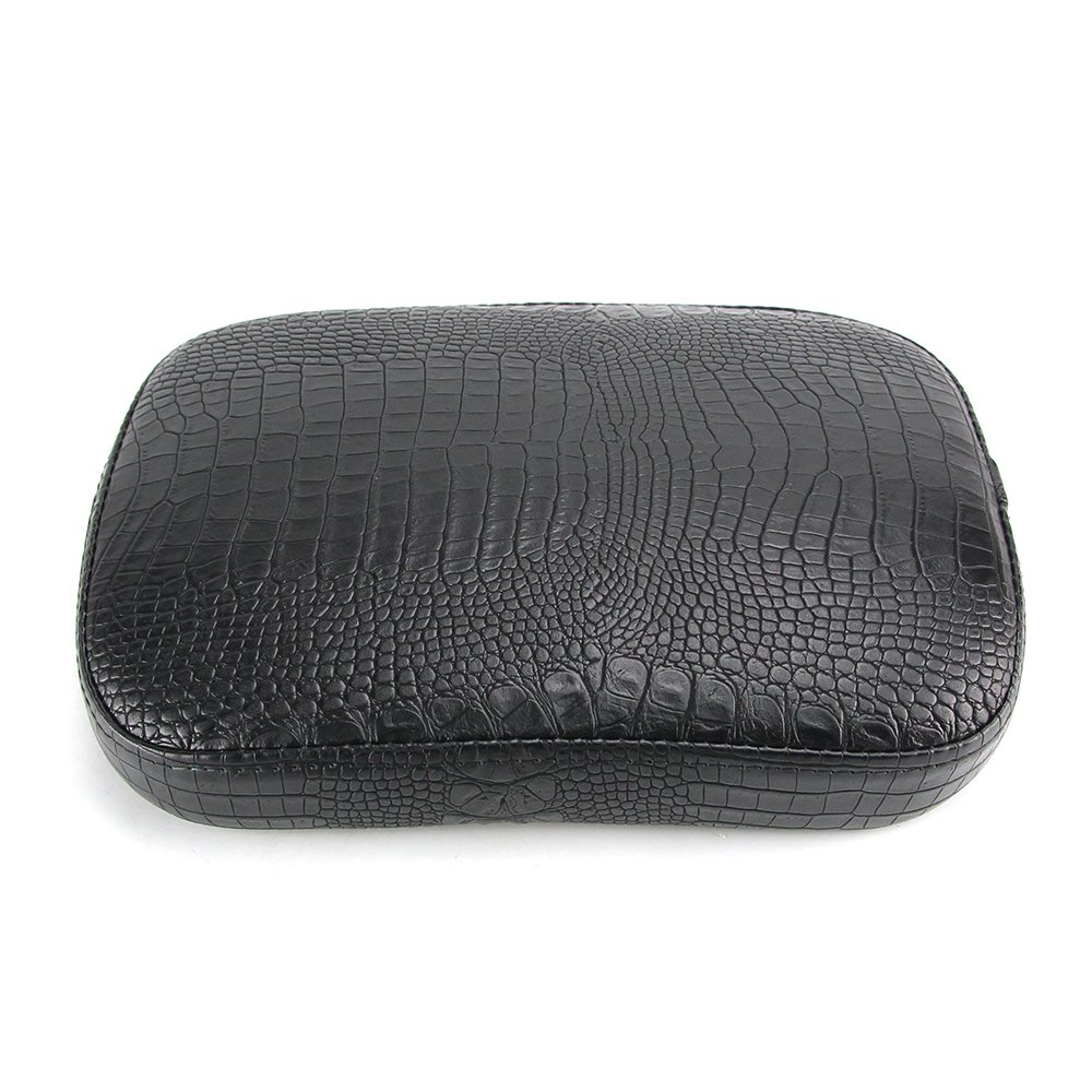 Oumurs Alligator Synthetic Leather Suction Cup Passenger Pillion Pad Seat Rectangle Cushion Pad for Harley Sporster XL 883 1200 Chopper Bobber Dyna Touring 6 Suction Cup Black
