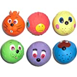 6 x Latex Faceballs Dog Puppy Toy Tennis Balls Sized Soft Squeaky Face Balls