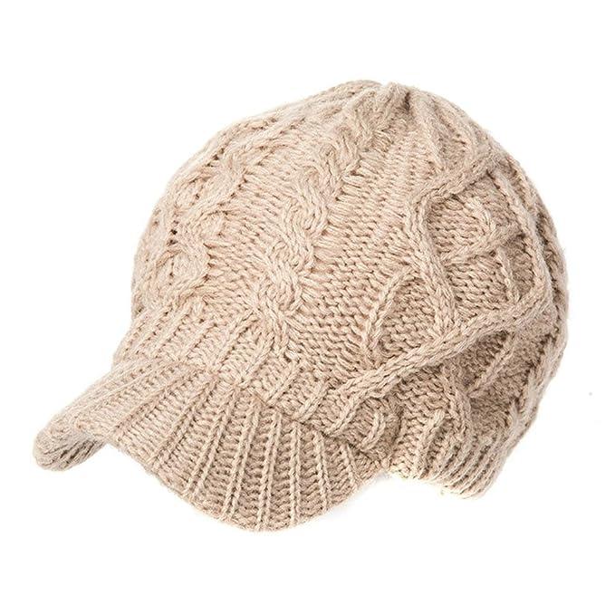 Siggi Wool Thick Knit Winter Hat for Women Newsboy Snow Cap Billed Beanie  with Brim Beige 6de7d15a7af