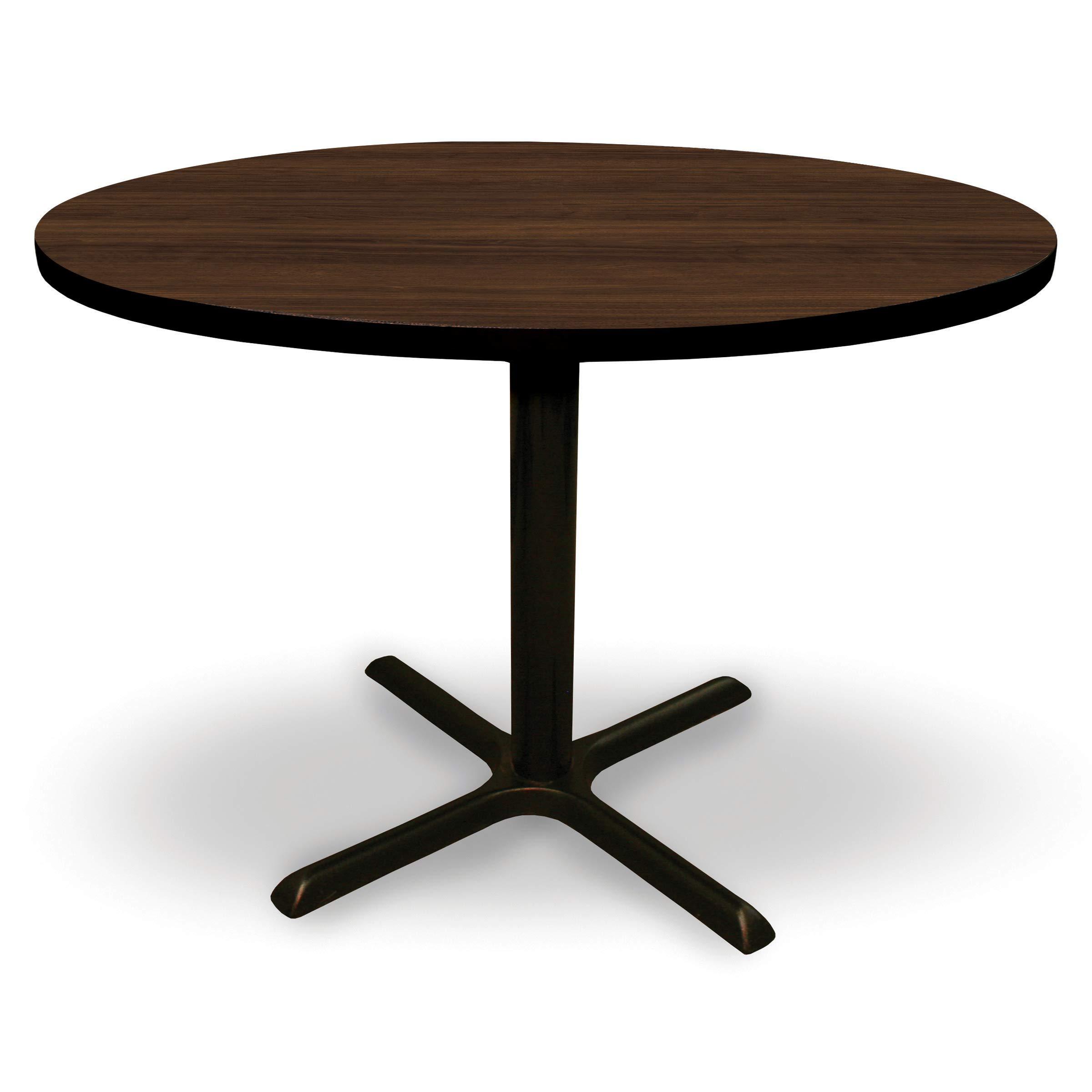 AMOF 48'' Round Conference, Break Room, Multipurpose Table - Walnut Laminate/Black Finish