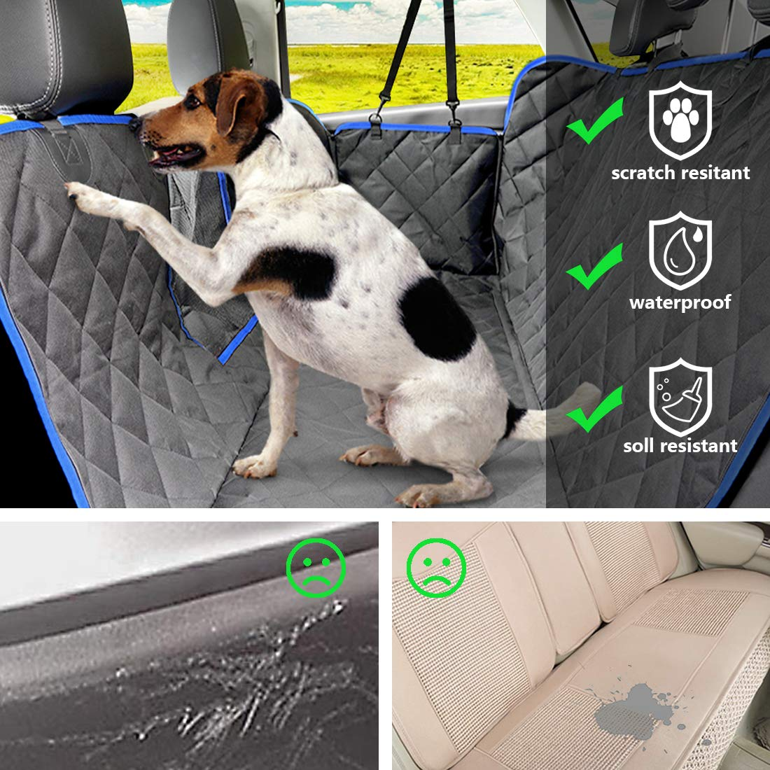 SUPSOO Dog Car Seat Cover Waterproof Durable Anti-Scratch Nonslip Back Seat Pet Protection Dog Travel Hammock with Mesh Window and Side Flaps for Cars/Trucks/SUV by SUPSOO (Image #3)