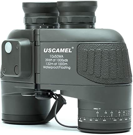 USCAMEL 10X50 Marine Binoculars for Adults, Waterproof Binoculars with Rangefinder Compass BAK4 Prism FMC Lens for Birdwatching Hunting Boating-Army Green