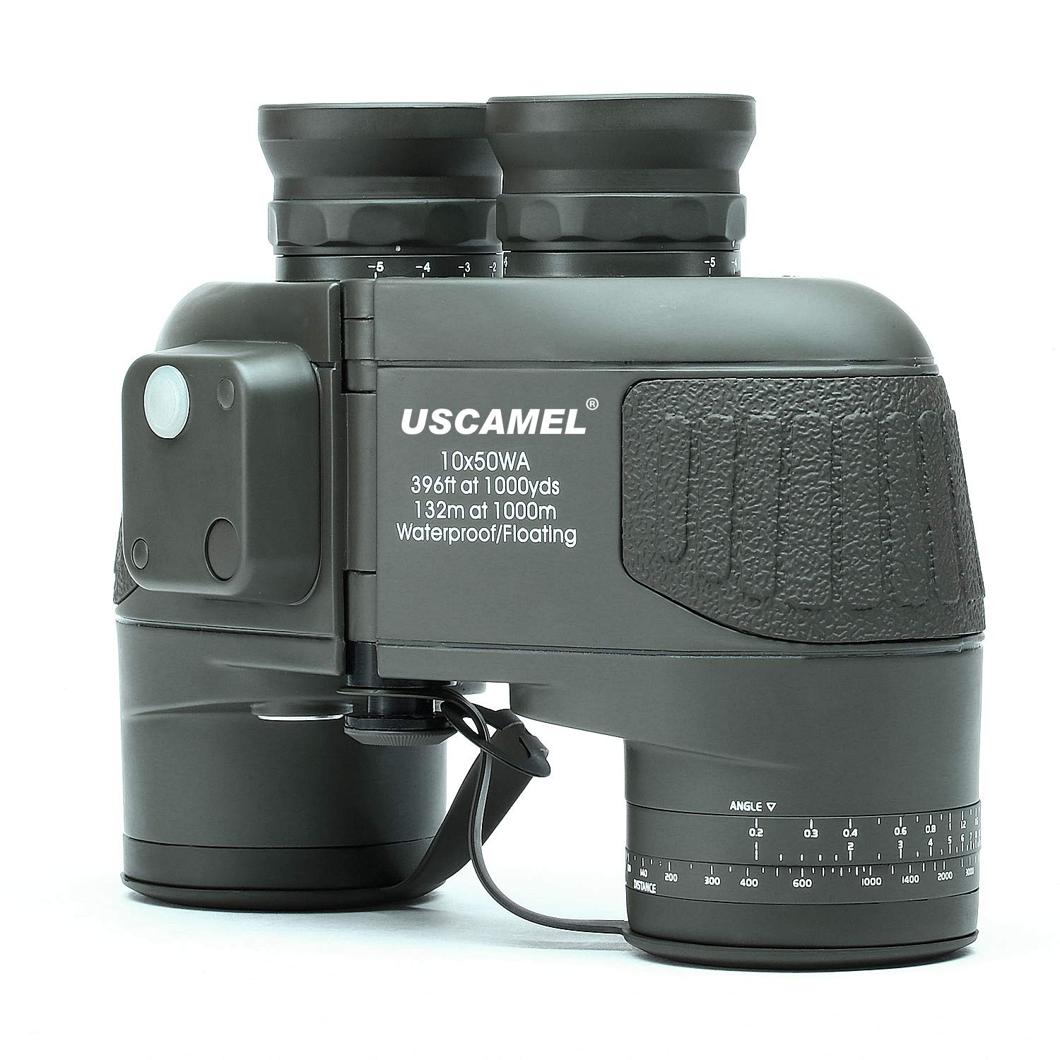 USCAMEL 10X50 Marine Military Binoculars for Adults, Waterproof Binoculars with Rangefinder Compass BAK4 Prism FMC Lens for Birdwatching Hunting Boating-Army Green by USCAMEL