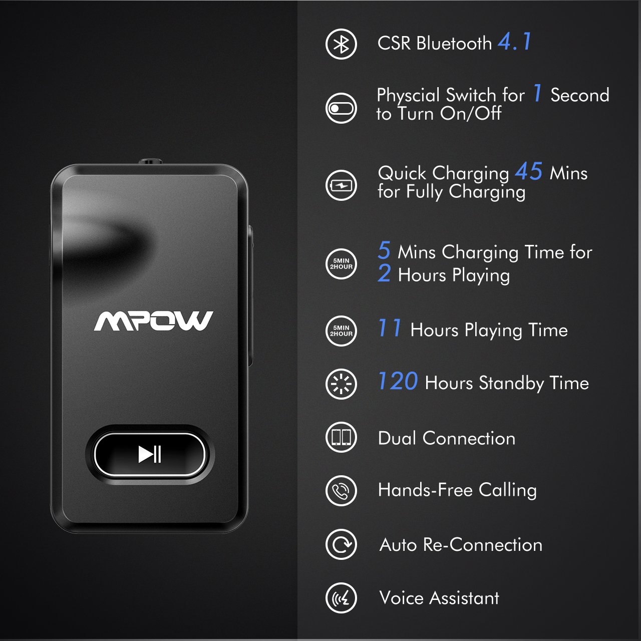 Mpow Aux Blueooth Adapter 3.5mm, Bluetooth Receiver w/Quick Charging 5-Min for 2 Hours Hands-free Calling, Wireless Bluetooth Car Adapter with One-Key On/Off Button, Bluetooth Car Kits for Hi-Fi Music by Mpow (Image #2)