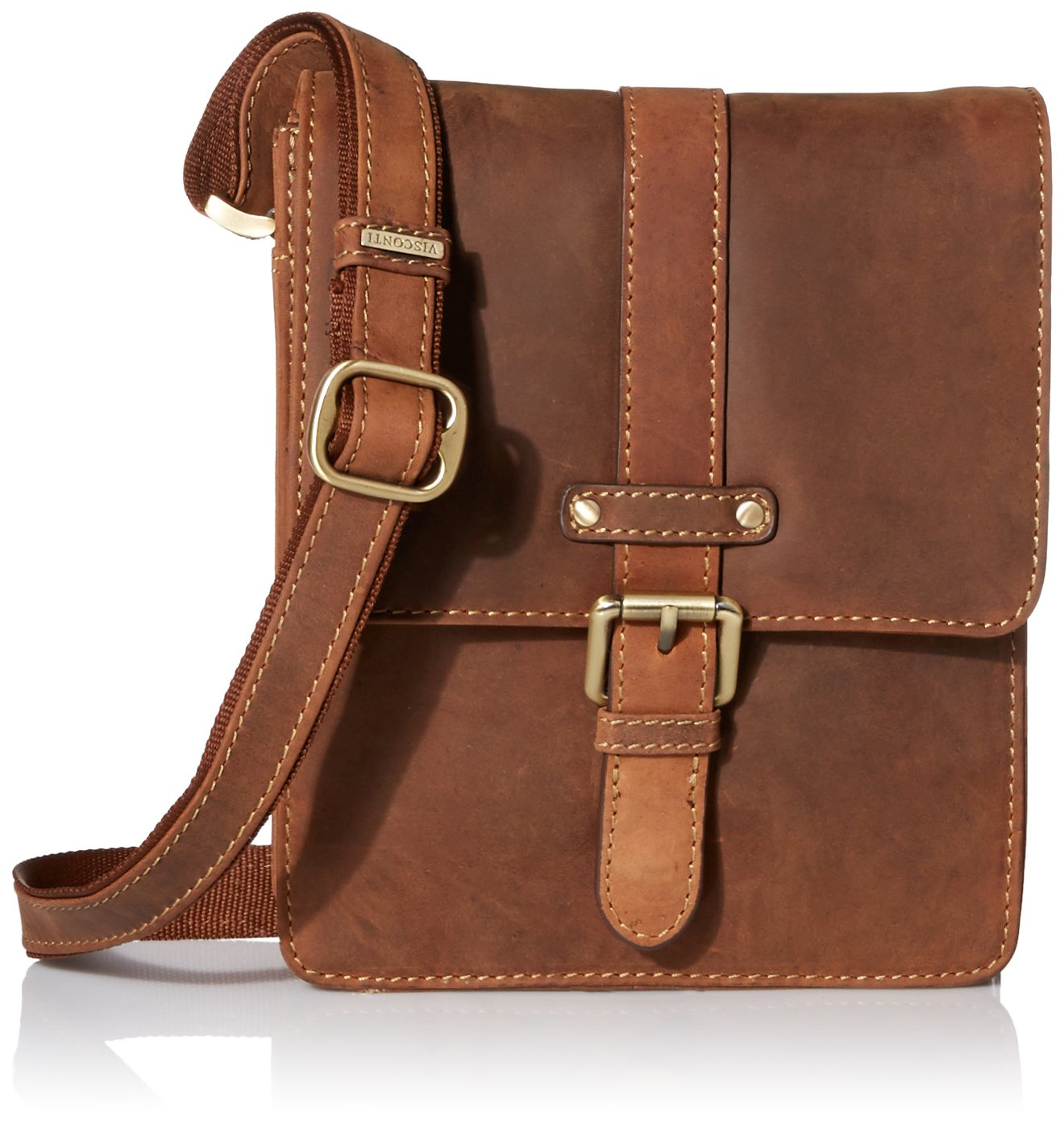 Visconti Modern Style Messenger Bag Made Of Oiled Distressed Leather, Tan, One Size Visconti Luggage 16113