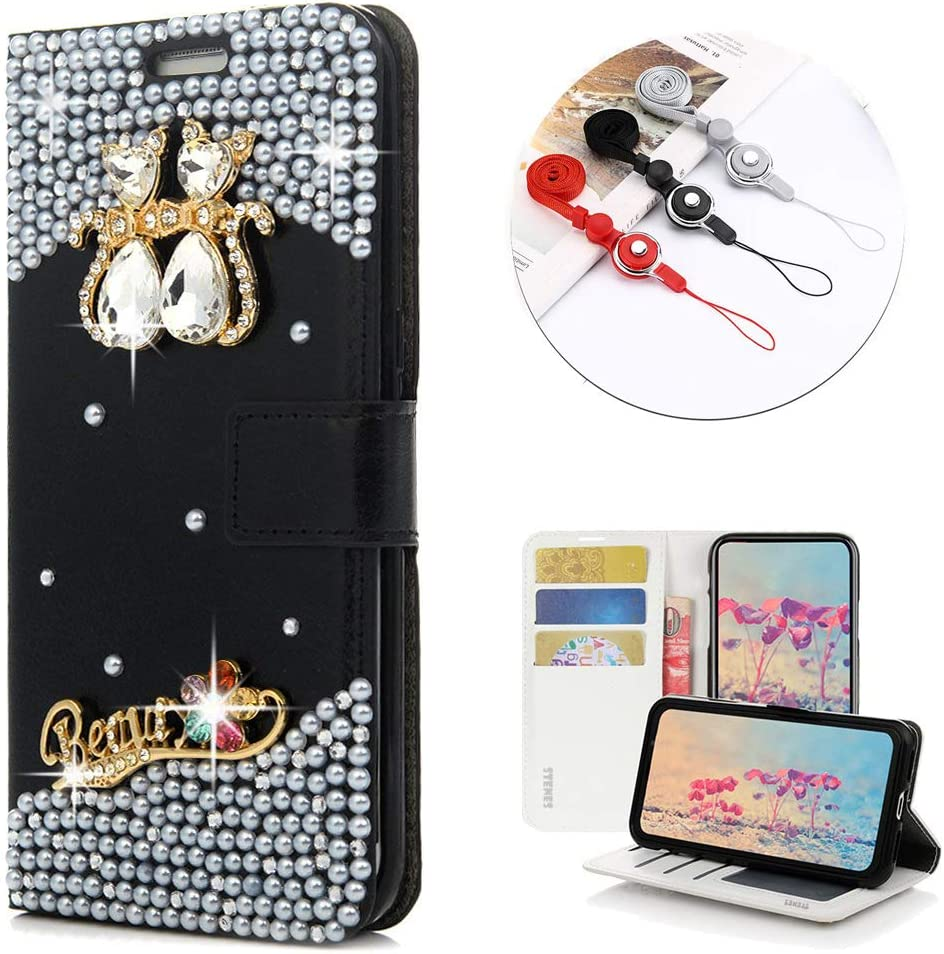 STENES Bling Wallet Phone Case Compatible with LG K7 / LG Escape 3 - Stylish - 3D Handmade Crystal Couple Cat Flower Magnetic Wallet Leather Cover with Neck Strap Lanyard [3 Pack] - White