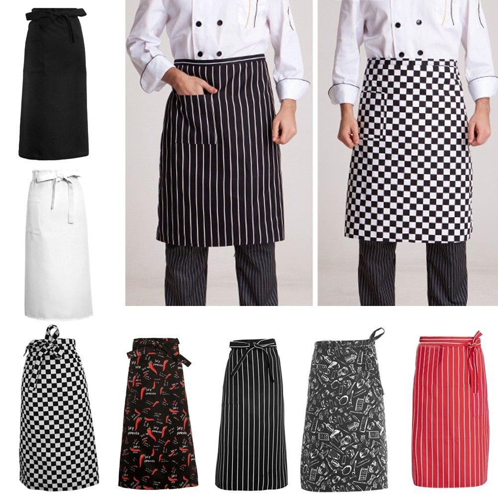 CADANIA Delantales de Cocina De Media Longitud Cintura Larga Delantal Catering Chefs Camareros Uniformes Cuadr/ícula en Blanco y Negro