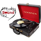 GOODNEW 3-Speed Vinyl Suitcase Turntable with Dual Stereo Speakers, Support Bluetooth, Record Player with Built-in Battery, Portable & Durable (black)