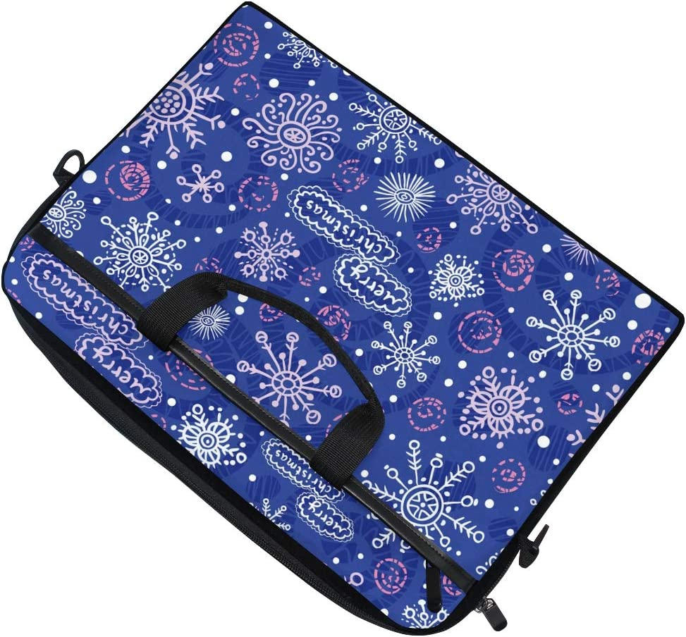 UNISE Dark Blue Snowflakes Seamless Laptop Case Shoulder Messenger Bag with Handle Zipper Canvas Fabric 15.4-Inch Briefcase for Business Casual School Unisex
