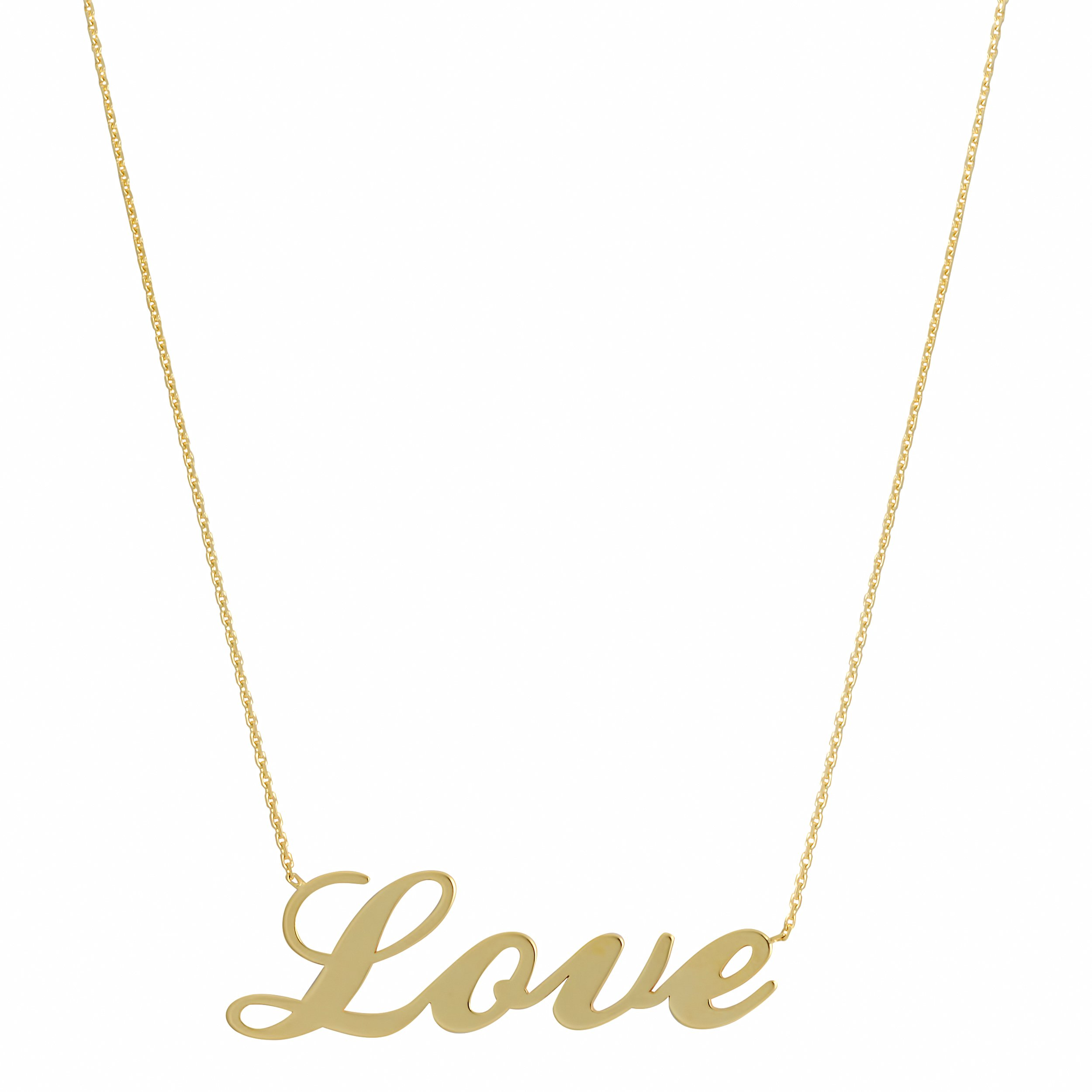 14k Yellow Gold Polished Sideways Love Necklace (18 inch)