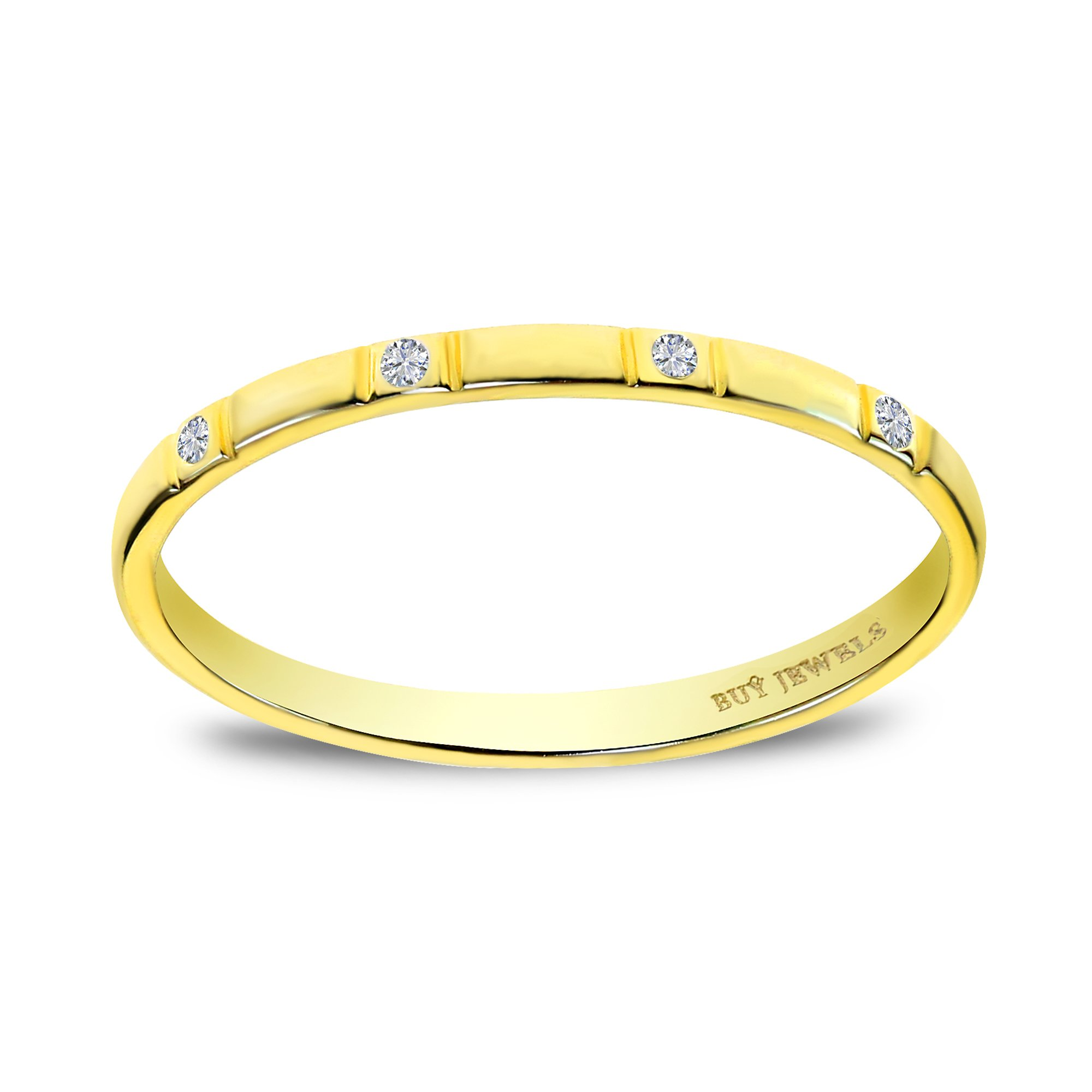 Buy Jewels 10k Gold and Diamond Stackable Dainty Promise Anniversary Ring for Women (yellow-gold, 5.5)