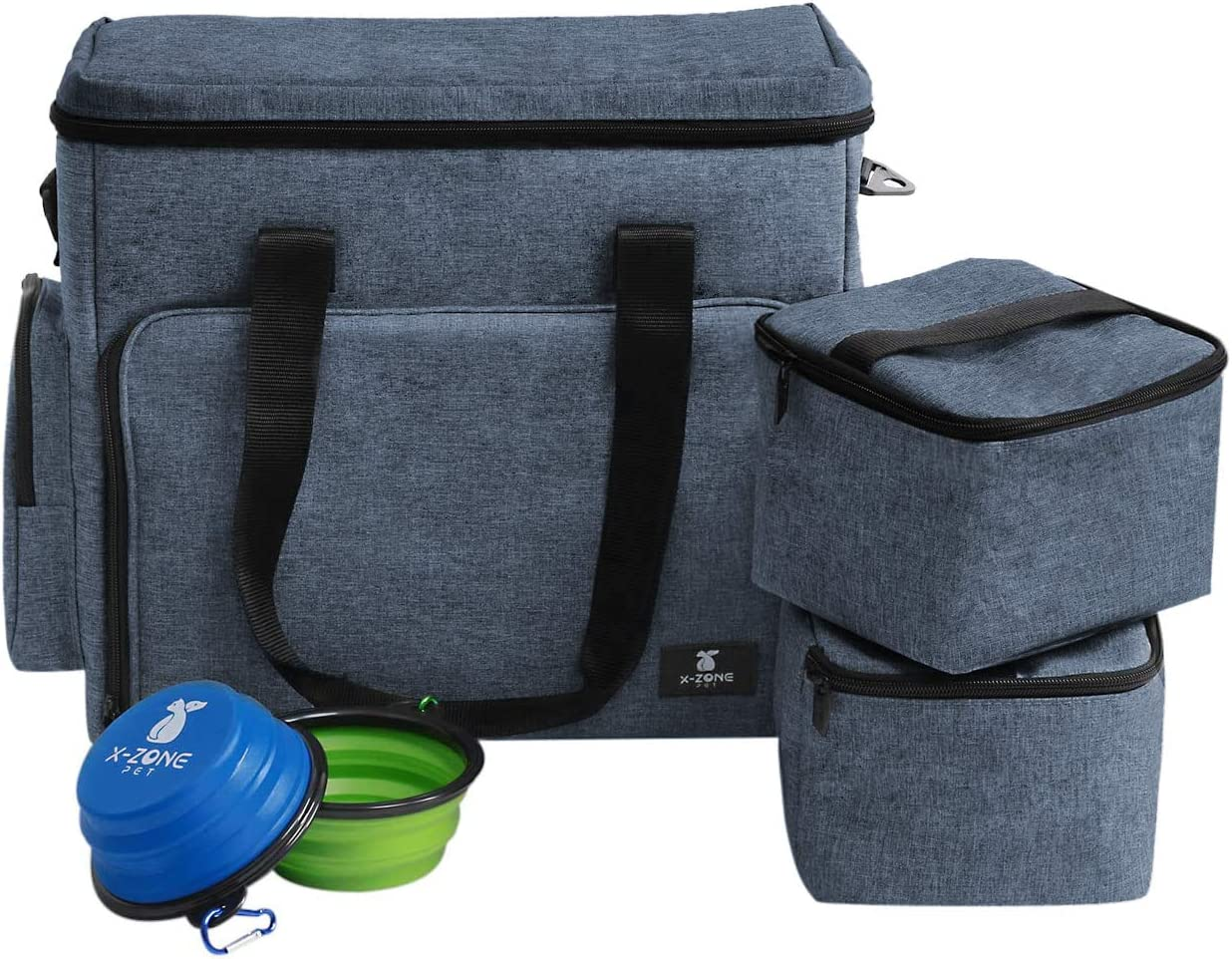 X-ZONE PET Portable Airline Approved Luggage Bag with Multi-Function Pockets Includes Travel Bag, Food Carrier Bag and Silicone Collapsible Bowls for Pets (Blue)