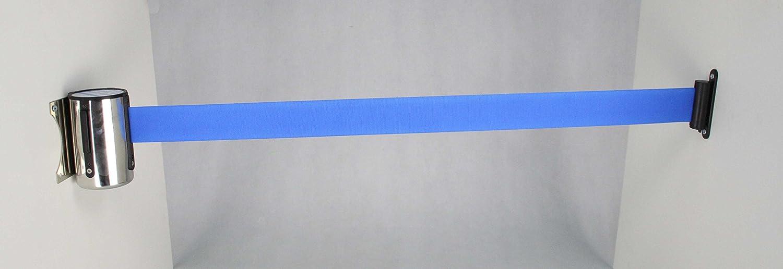 FixtureDisplays Stanchion Queue Barrier Post Wall Mount Retractable Ribbon 17 Belt Blue 12004-8-BLUE