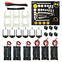 WOSKY 6 Set Rectangular Mini Electric 1.5-3V 24000RPM DC Motor with 80 Pcs Plastic Gears,Electronic Wire, 2 x AA Battery Holder,Motor Mounting Bracket,Boat Rocker Switch for DIY Science Projects