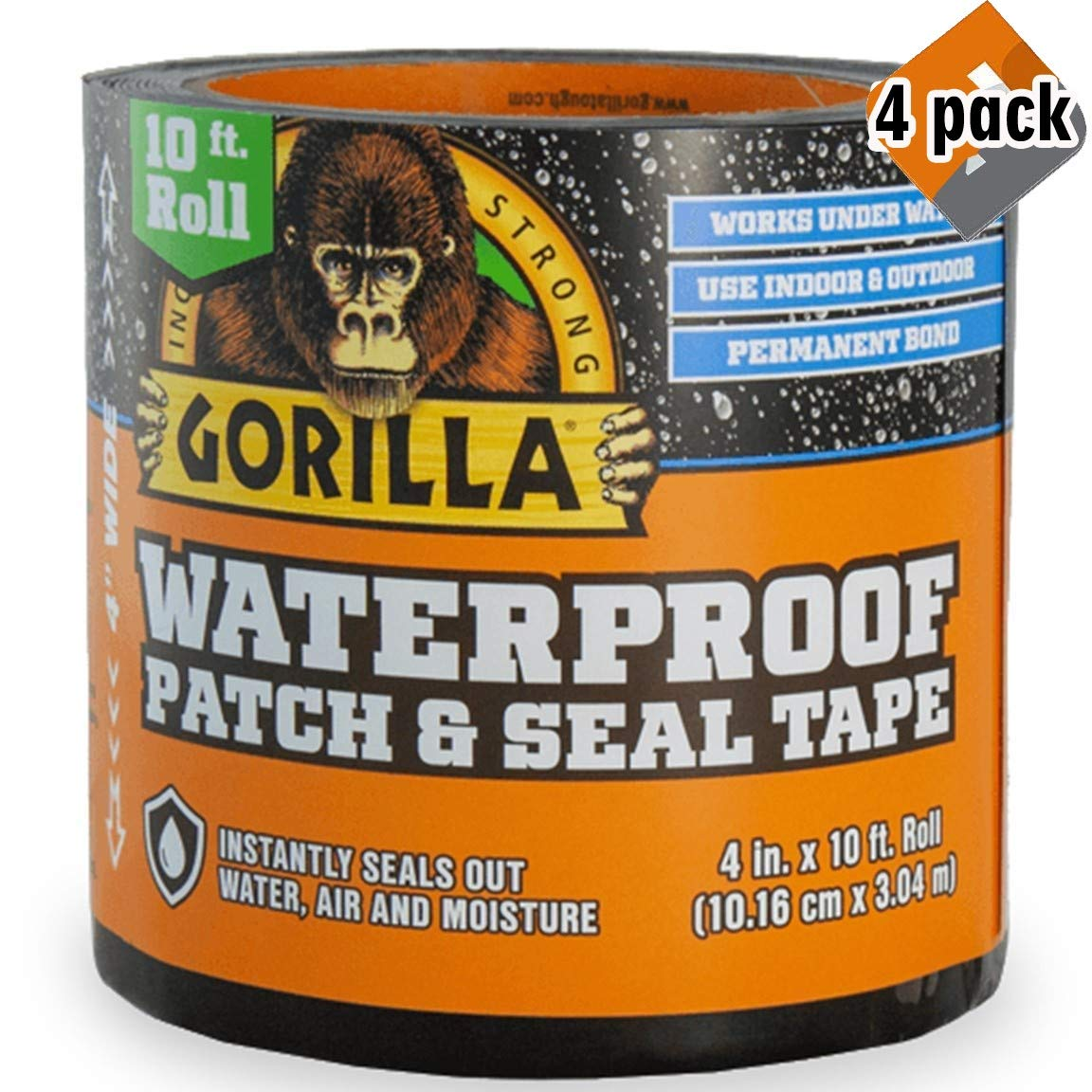 Gorilla 4612502 Waterproof Patch & Seal Tape 4'' x 10' Black, Pack 4
