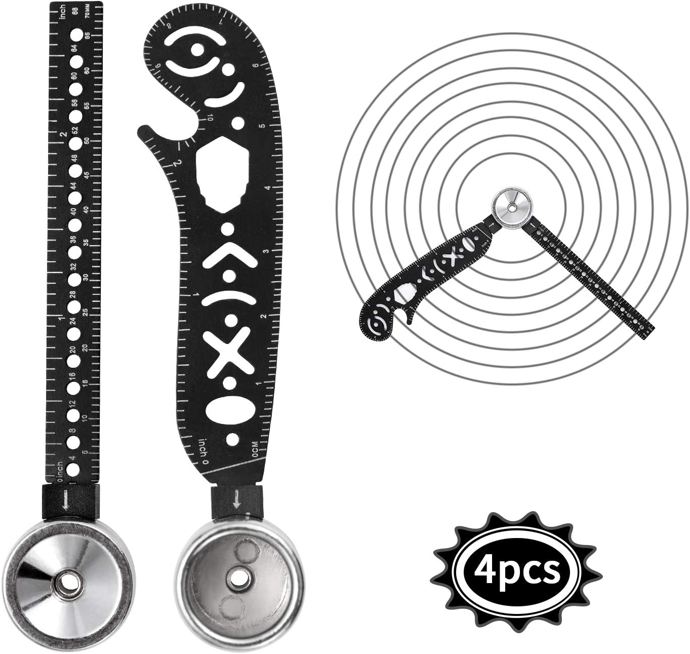 Magcon Ultimate Design Tool Mini Compass Protractor Combo-Circles Drawing