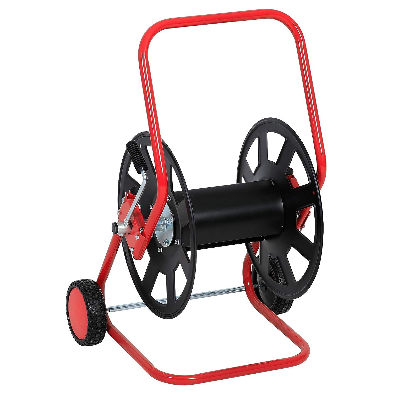 Xclou D/évidoir de tuyau d/'arrosage grande capacit/é en acier inoxydable et plastique Enrouleur sur roues pratique et mobile D/évidoir /à manivelle pour l/'arrosage du jardin 50 m