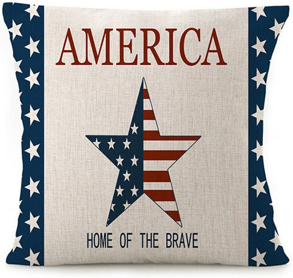 Various Creative American Flag Star Stripes Design and Funny America Home of The Brave Cotton Linen Throw Pillow Covers Cushion Cover Decorative Sofa Bedroom Living Room Square 18 Inches