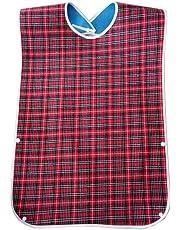 SUMAJU Adult Bibs, Washable Dining Bibs Reusable Clothing Protector for Elderly Women Men (Red)