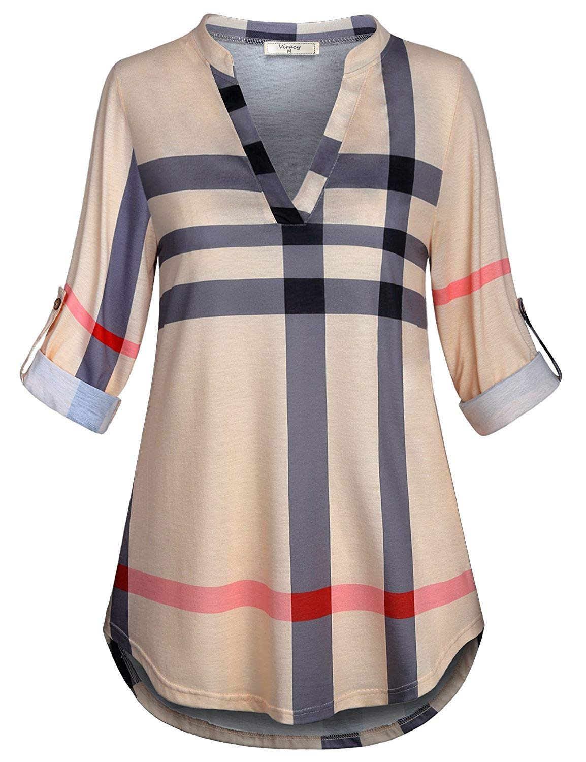Viracy Plaid Tunic, Women Shirts for Leggings 3/4 Roll Sleeve Blouses V Neck Loose Pattern Dressy Henleys Business Casual Tops Easy Fit Flowy Aline Pullover Soft Surroundings Beige XXL