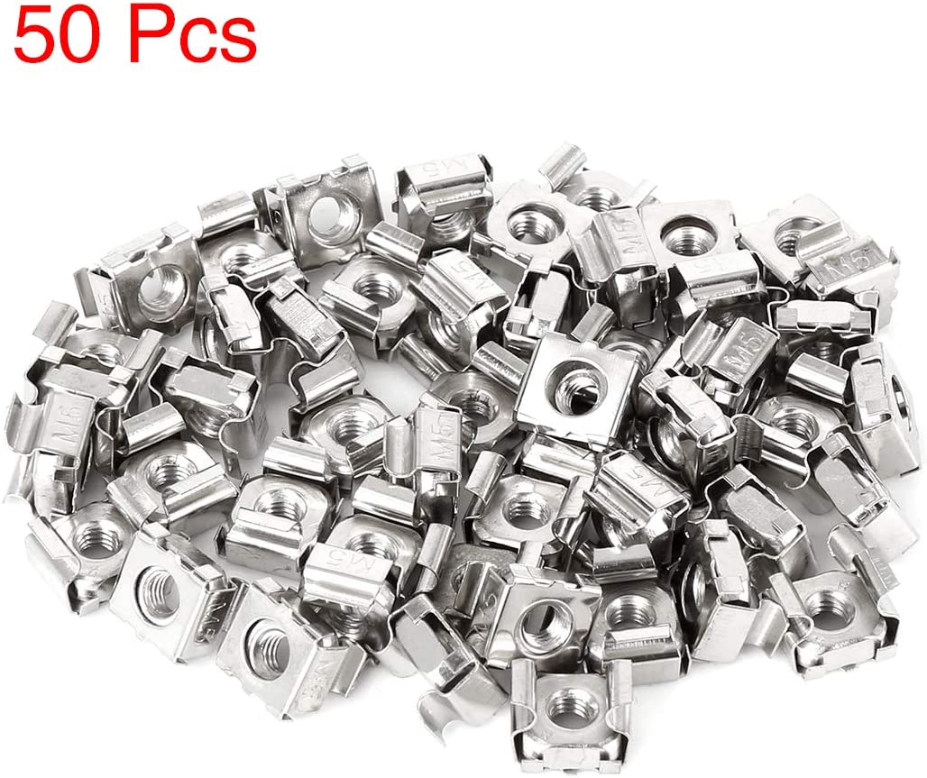X AUTOHAUX 50pcs Car 5mm Mounting Cage Nut for License Plate Silver Tone