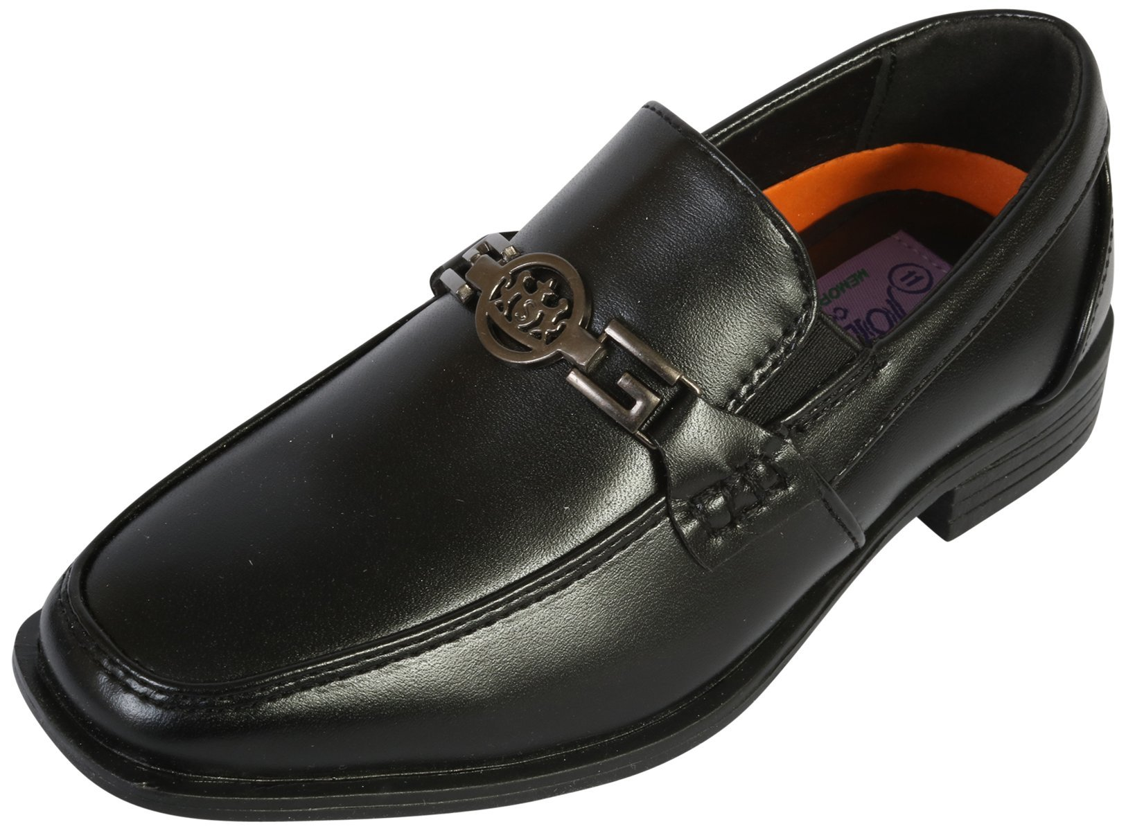 Jodano Collection Boys Comfort Slip On Loafers, Black Medallion, 4 M US Big Kid' by Jodano Collection