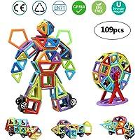 infinitoo Costruzioni Magnetiche per Bambini Kit di Blocchi Magnetici 109 Pezzi per Sviluppare l'Intelligenza e la Memoria di Bambini