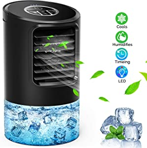 SHSTFD Portable Air Conditioner Fan, Mini Evaporative Air Cooler Humidifier Purifier, Personal Quiet Small Cooling Misting Desk Fan with 7 Colors Night Light, 3 Speeds Air Circulator for Home Office