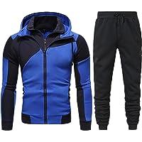 Sheey Conjunto de Ropa y Pantalones Costura Cremallera Chándal Traje Deportivo para Hombre, Pantalones Abrigo Chaqueta…