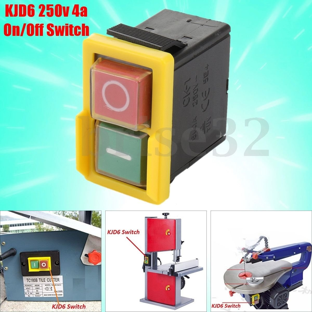 250V 4A IP54 5E4 Universal Replacement KJD6 On//Off Switch Part For Woodworking
