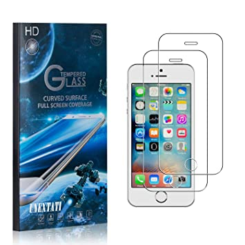 UNEXTATI 9H Hardness Screen Protector Film HD Clear Tempered Glass Film for iPhone SE//iPhone 5S // iPhone 5 3 Pack Tempered Glass Screen Protector Compatible with iPhone SE//iPhone 5S // iPhone 5