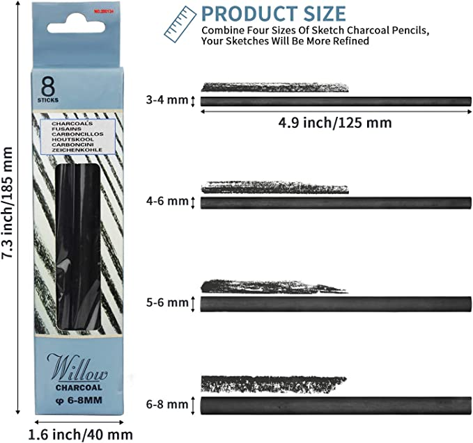 Artist Charcoal Pencils for Drawing 5-6 mm MyLifeUNIT Vine Charcoal Pack of 20