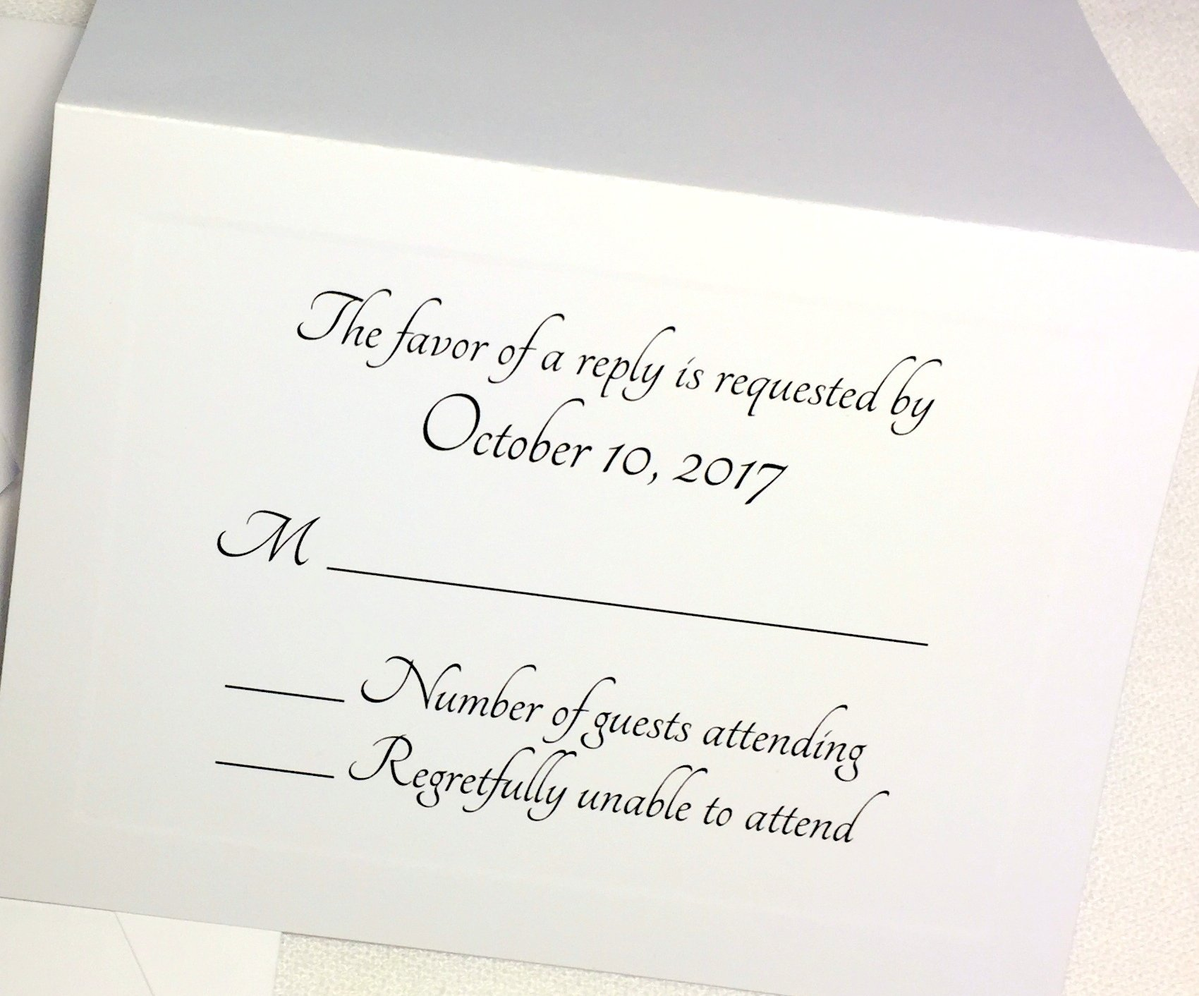50 Custom RSVP Response Cards with Envelopes. WHITE cards with elegant raised panel edging. Personalized Wedding, Anniversary, Party RSVP. Several Font Choices. Fold Tent Style. (Modern Flair)
