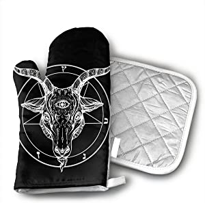 Pentagram with Demon Baphomet Satanic Goat Oven Mitts - Pot Holders - Decor for The Kitchen - Potholder Oven Mitt Set (2 Piece) Includes 1 Potholders 1 Oven Mitts - Kitchen Decor