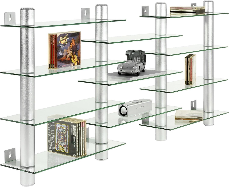 Stilista Cd Dvd Wandregal Klarglas Aluminium Tubes Hohe 60 Cm