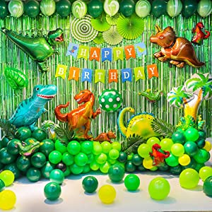 Birthday Party Backdrop Decorations Dinosaur Themed Balloon Party Supplies Backdrop Decorations For Birthday Party, Dinosaur, HAPPY BIRTHDAY Banner, Folding Fan,Leaves,Balloons and Curtains, More than 90 Pcs for your Dinosaur Themed Birthday Party !