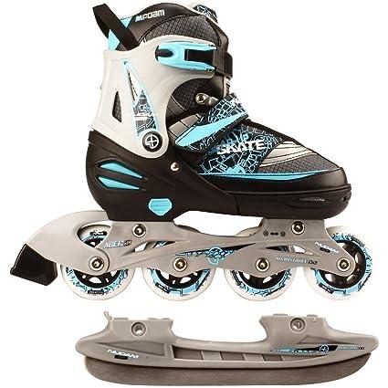Kinder Inliner und Schlittschuhe 2 in 1 Größe verstellbar 27-30 Skater Inline-Skates blau