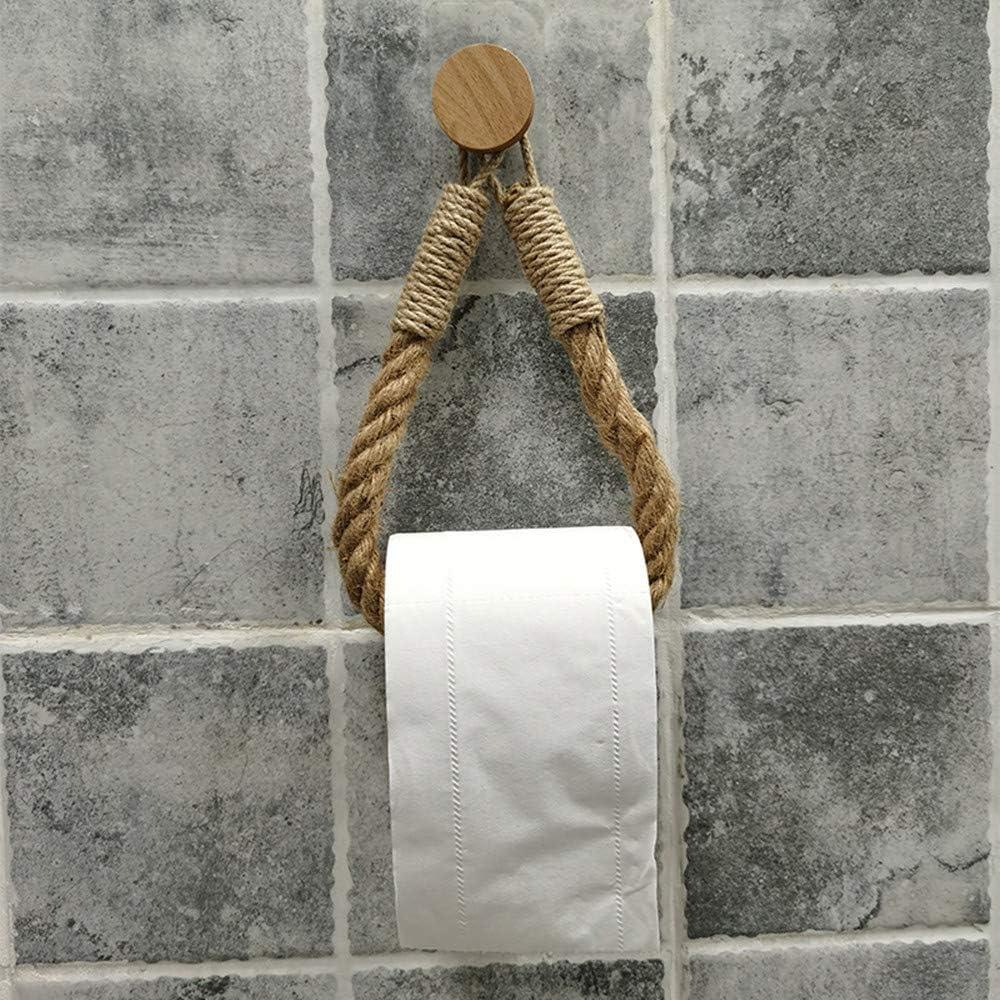 Tukcherry Portarrollos papel higiénico Vintage puerta toalla Cuerda Industrial Baño - Portarrollo para Papel Higiénico Autoadhesivo Para Baños (1)