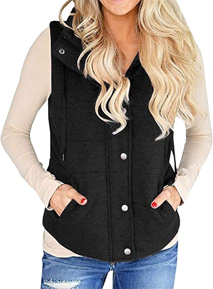 New Women/'s Lightweight Quilted Cardigan Vest Waistcoat Top Jacket With Pockets