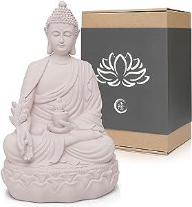 "Healing Medicine 10"" Buddha Statue Home Decor for Meditation Altar Table, Yoga Room & Zen Garden - White Resin Buddha Head Figurine Decorations - Restorative Gift of Spiritual Asian Sculpture Decor"