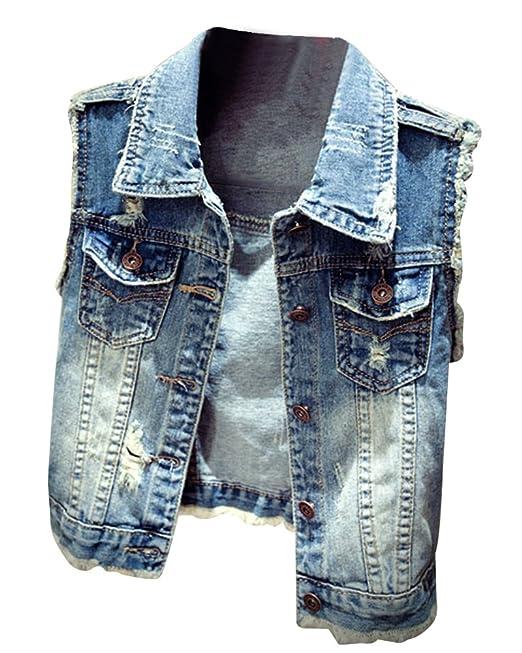 5a496b4080 Donna Slim Fit Gilet Jeans Senza Maniche Giacca Corte Eleganti