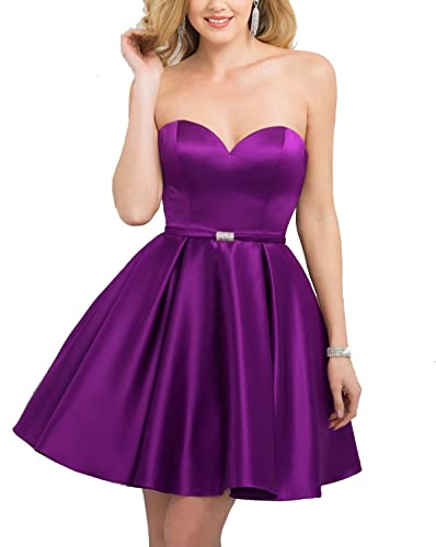 Nicefashion Girls Sweet Simple Satin Short Homecoming Dress Modest Prom Gowns