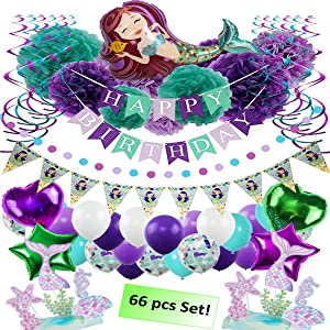 Mermaid Happy Birthday Banner and Party Decorations Supplies, Pom Pom and Balloon Set -Total 66 pcs of Girls and Little Princess Under The Sea Decor