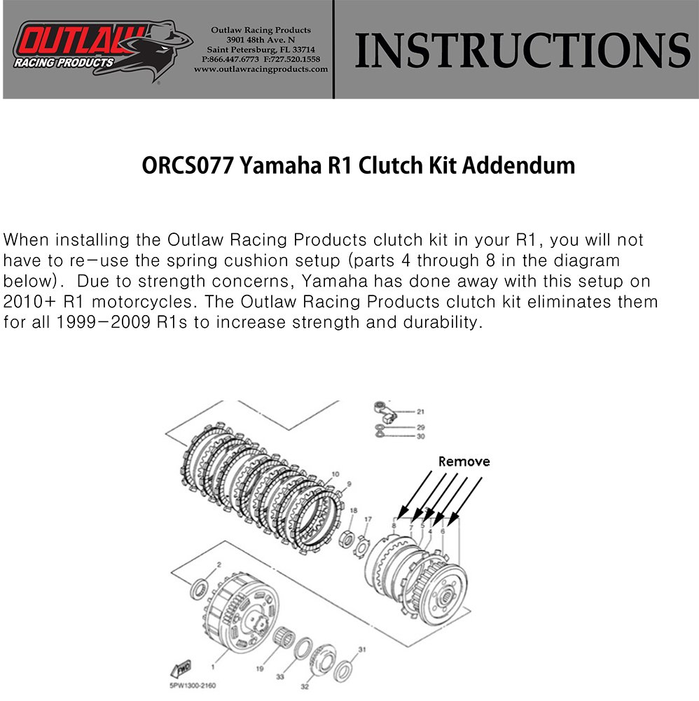 Yamaha R1 Clutch Diagram Trusted Wiring 2009 Front Amazon Com Outlaw Racing Orcs077 Kevlar Complete Repair