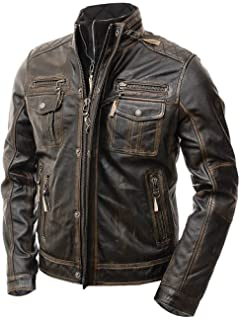 Amazon.com: FLAVOR Men Biker Retro Brown Leather Motorcycle ...