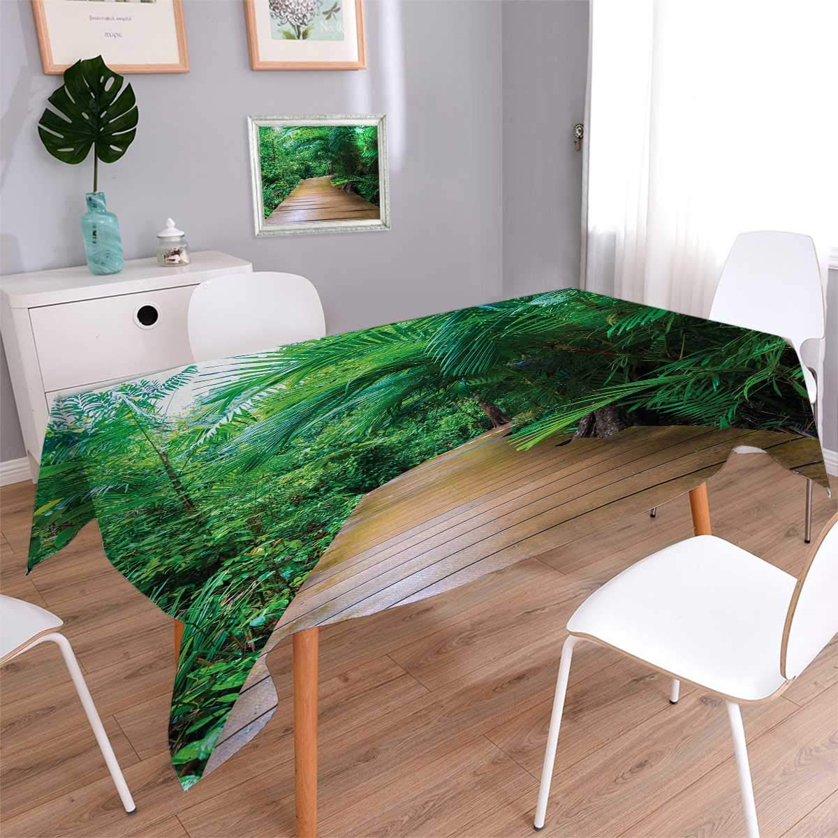Anmaseven Jungle Oblong Patterned Tablecloth Deck Timber Jetty Exotic Getaway Wilderness Footpath Tropic Plants Rainforest Dust-proof Oblong Tablecloth Light Brown Green Size: W50 x L80
