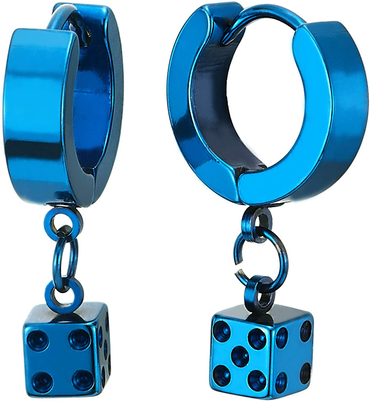 Pair Mens Womens Stainless Steel Blue Huggie Hinged Hoop Earrings with Dangling Cube Dice, Fashion